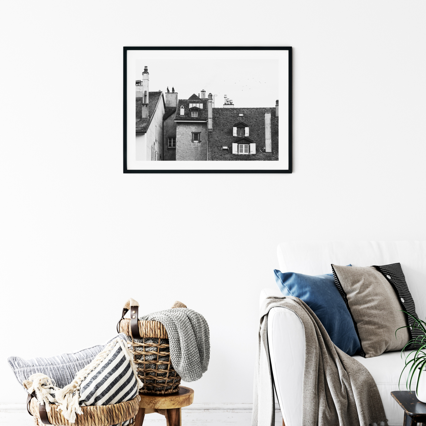 Roofs Of Nyon photography - Black and white print with border in black frame on the wall