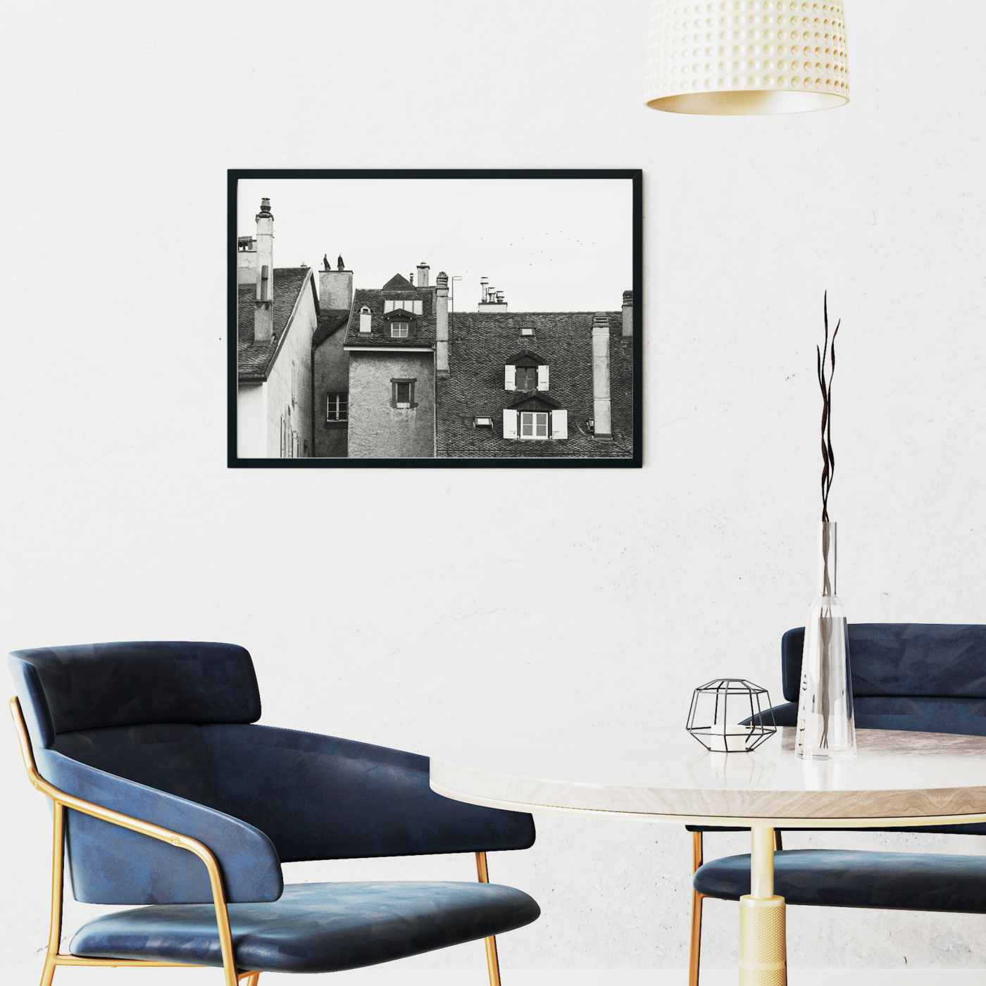 Roofs Of Nyon photography - Black and white print without border in black frame on the wall