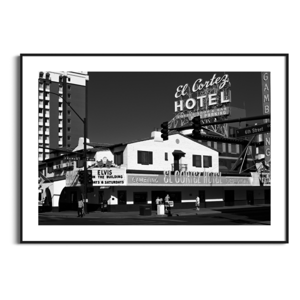 El Cortez Hotel, Las Vegas - black and white photography print with border in black frame