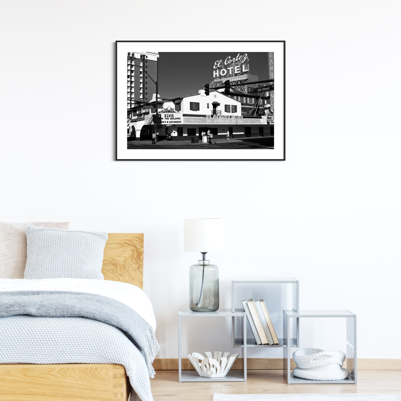 El Cortez Hotel, Las Vegas - black and white photography, print with border in black frame on the wall