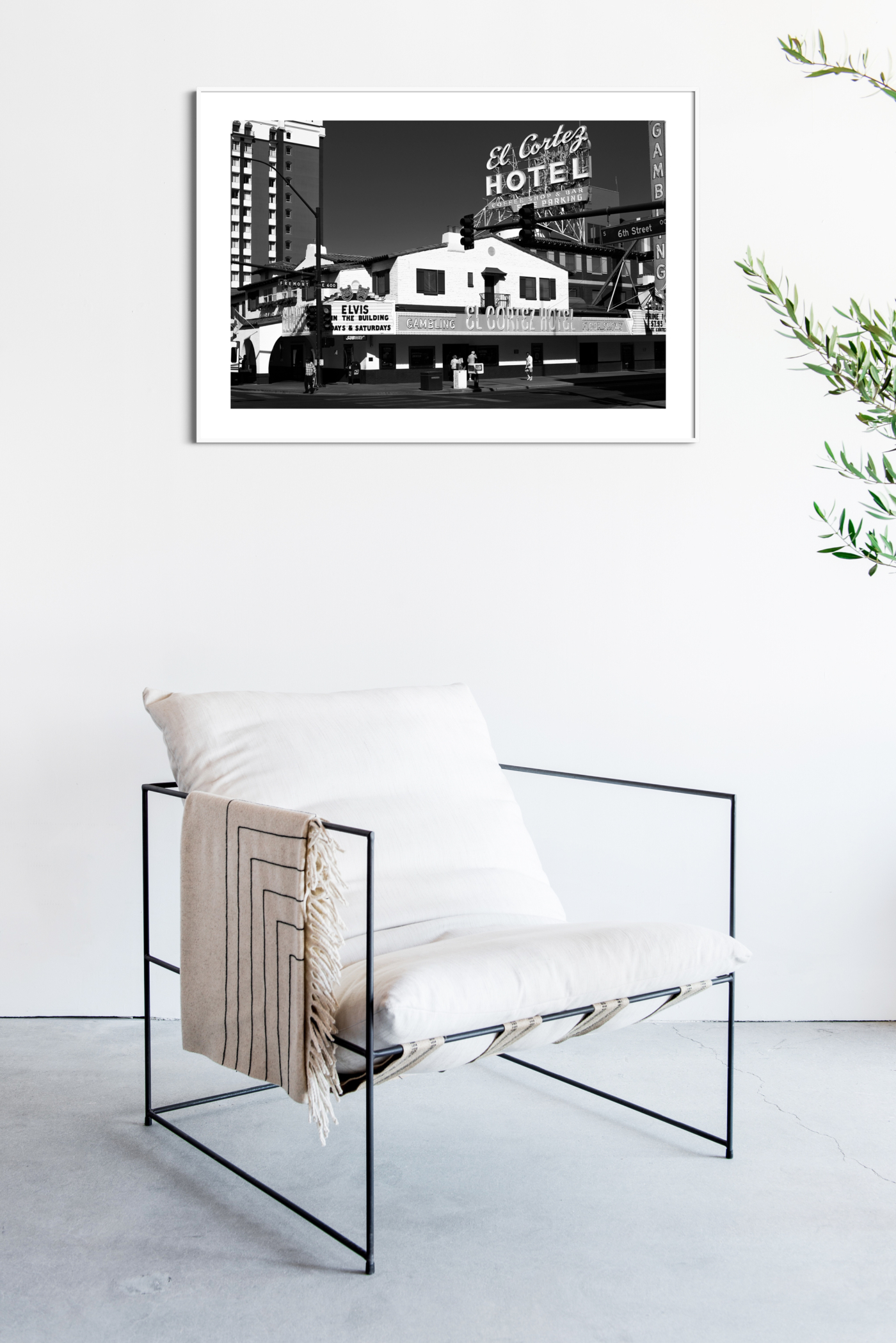 El Cortez Hotel, Las Vegas - black and white photography, print with border in white frame on the wall
