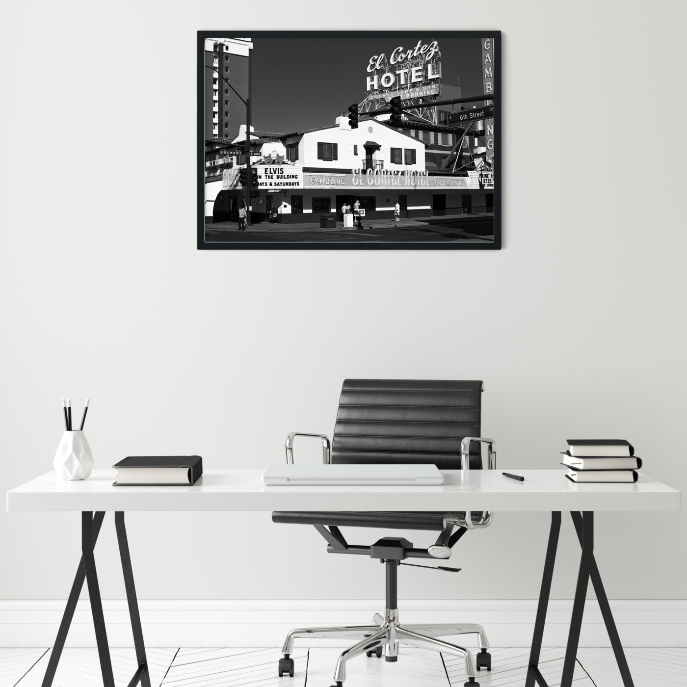 El Cortez Hotel, Las Vegas - black and white photography, print without border in black frame on the wall