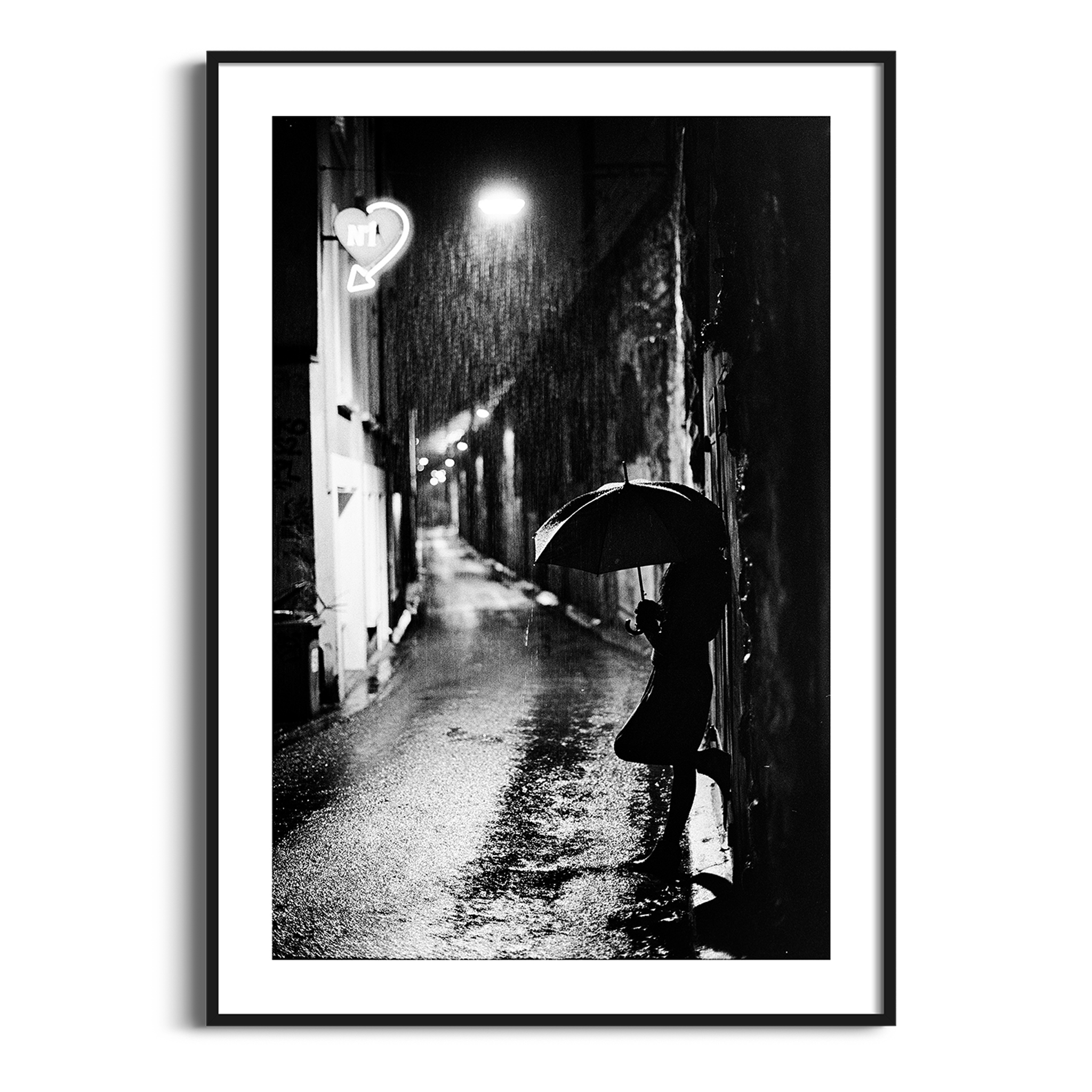 Nightstreet photo - black and white print with border in black frame