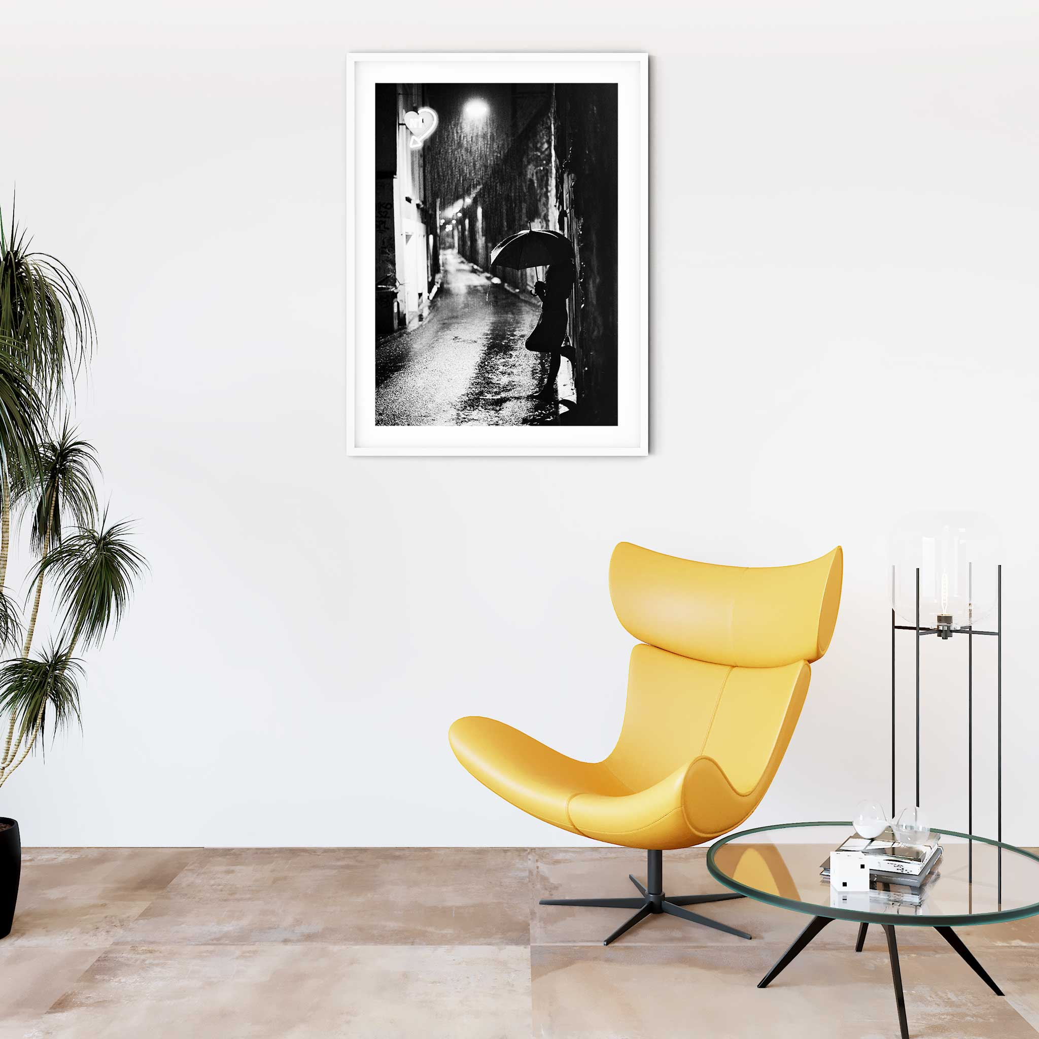 Nightstreet photo - black and white print with border in white frame on the wall
