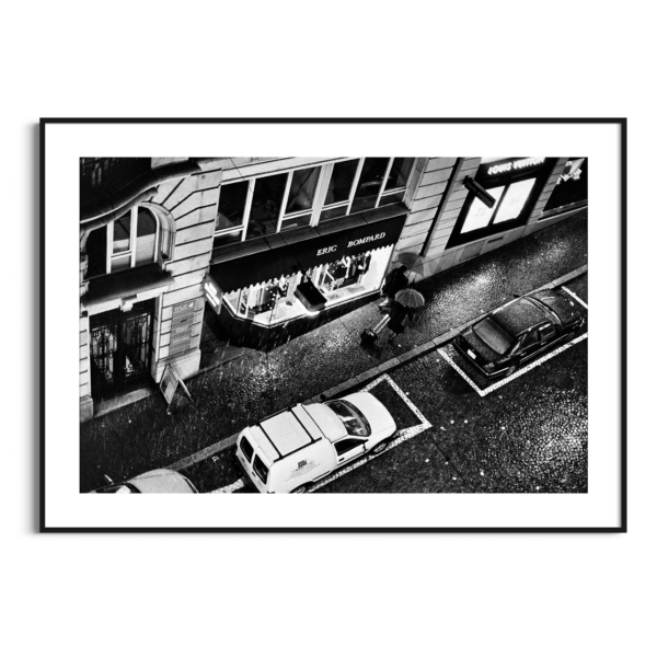 Heavy Rain in Lausanne photography - black and white print with border in black frame
