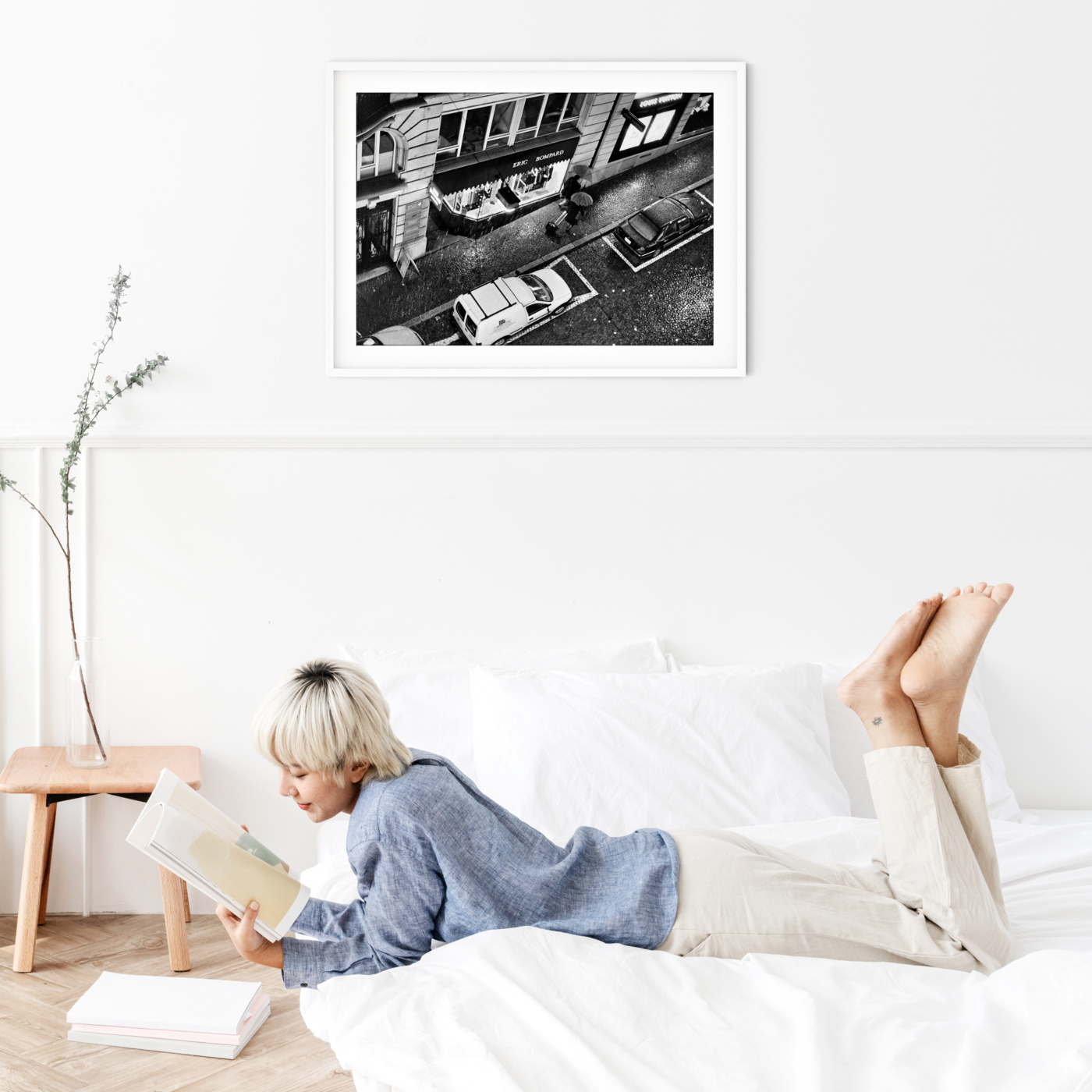 Heavy Rain in Lausanne photography - black and white print with border in white frame on the wall