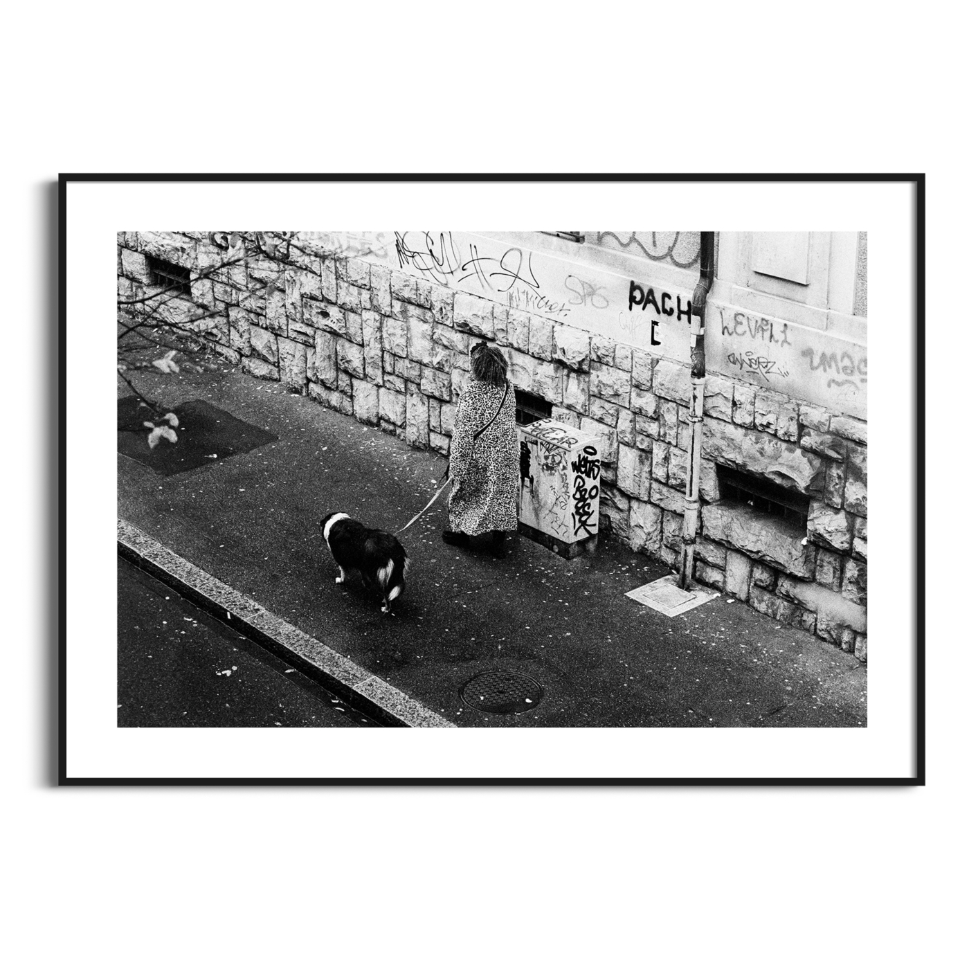 Rue De Simplon, Lausanne - black and white print with the border in a black frame