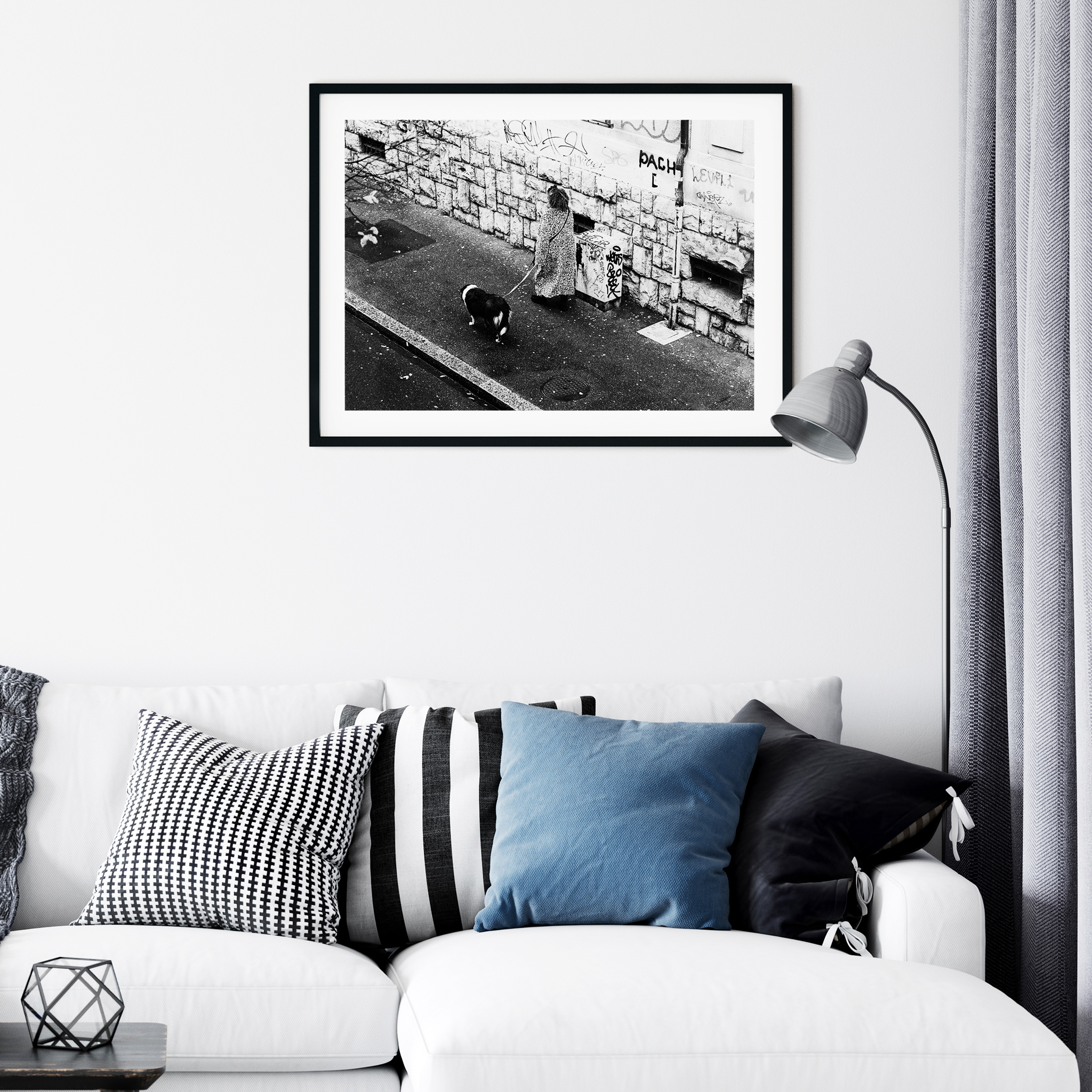 Rue De Simplon, Lausanne - black and white print with the border in a black frame on the wall