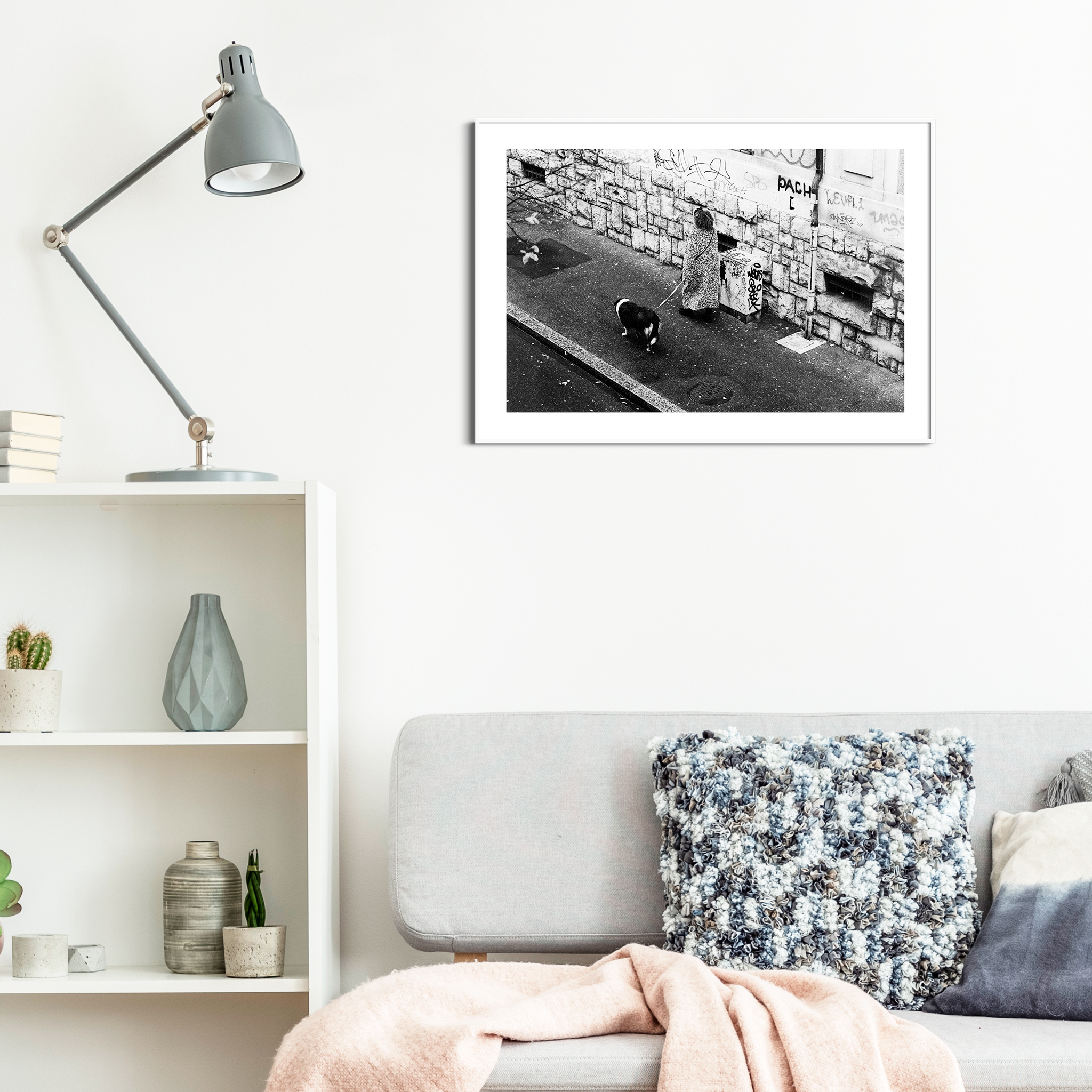 Rue De Simplon, Lausanne - black and white print with the border in a white frame on the wall