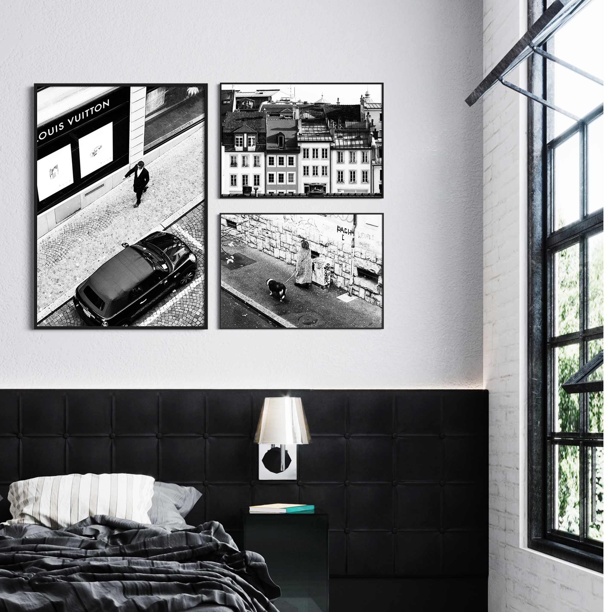 Lausanne gallery wall - a collection of black and white photographic prints from Lausanne, Switzerland on the wall in the bedroom interior